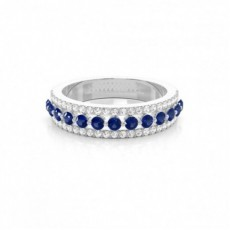 Prong Setting Round Blue Sapphire Half Eternity Ring