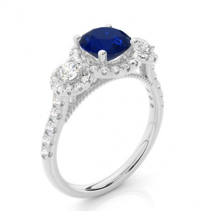 Prong Setting Round Blue Sapphire Three Stone Ring