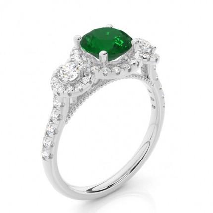 Prong Setting Round Emerald Three Stone Ring