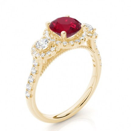 Prong Setting Round Ruby Three Stone Ring