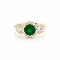 Yellow Gold Emerald Diamond Rings