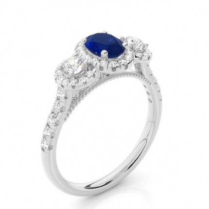 Prong Setting Oval Blue Sapphire Three Stone Ring