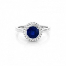 Prong Setting Round Blue Sapphire Halo Engagement Ring
