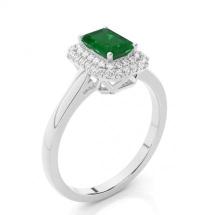 Prong Setting Emerald Halo Engagement Ring