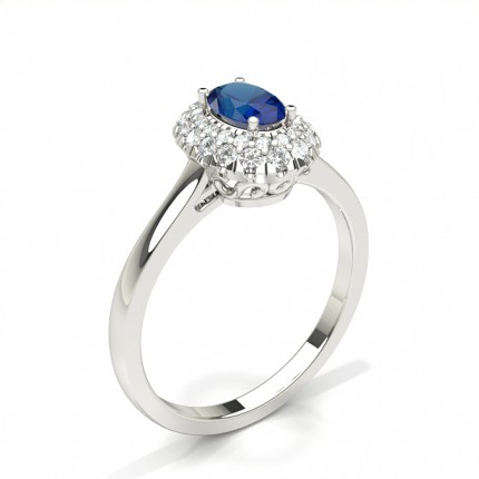 Prong Setting Oval Blue Sapphire Halo Engagement Ring