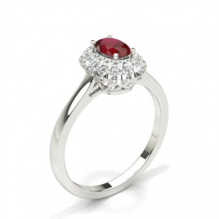 Zinkeneinstellung Oval Ruby Halo Verlobungsring