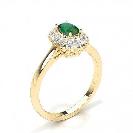 Prong Setting Oval Emerald Halo Engagement Ring