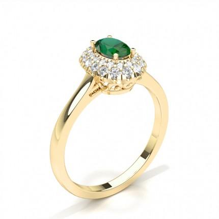 Zinkeneinstellung Ovaler Smaragd-Halo-Verlobungsring