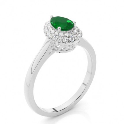Prong Setting Pear Emerald Halo Engagement Ring