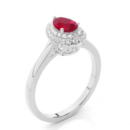 Prong Setting Pear Ruby Halo Engagement Ring
