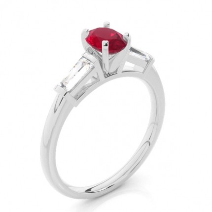 Prong Setting Oval Ruby Three Stone Ring