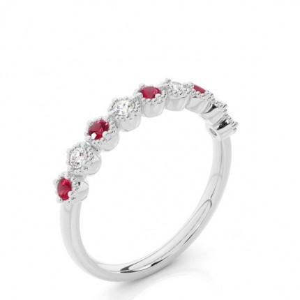 Prong Setting Round Ruby Half Eternity Ring