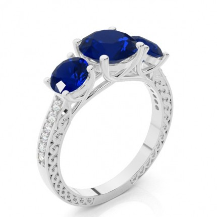 Prong Setting Round Blue Sapphire Vintage Ring