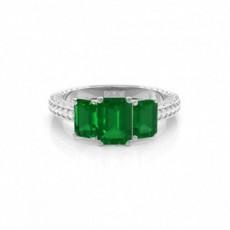 Emerald Platinum Gemstone Diamond Engagement Rings