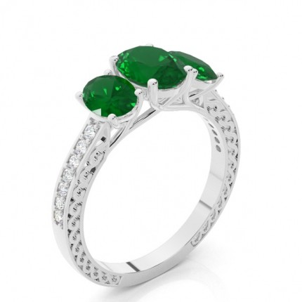 Prong Setting Oval Emerald Vintage Ring