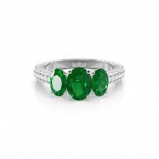 Oval Emerald Diamond Engagement Rings