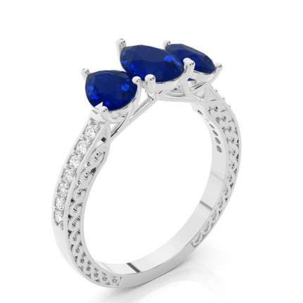 Prong Setting Pear Blue Sapphire Vintage Ring