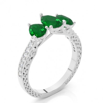 Prong Setting Pear Emerald Vintage Ring