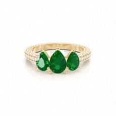 Yellow Gold Emerald Diamond Engagement Rings