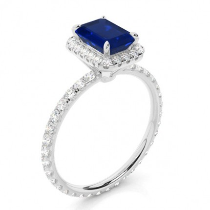 Prong Setting Blue Sapphire Side Stone Ring