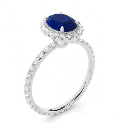Zinkeneinstellung Oval Blue Sapphire Side Stone Ring