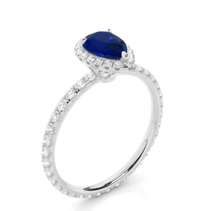 Prong Setting Pear Blue Sapphire Side Stone Ring
