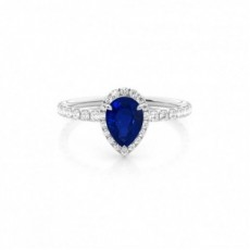 Pear Sapphire Diamond Rings