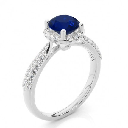 Prong Setting Round Blue Sapphire Side Stone Ring