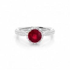 Round Ruby Diamond Engagement Rings
