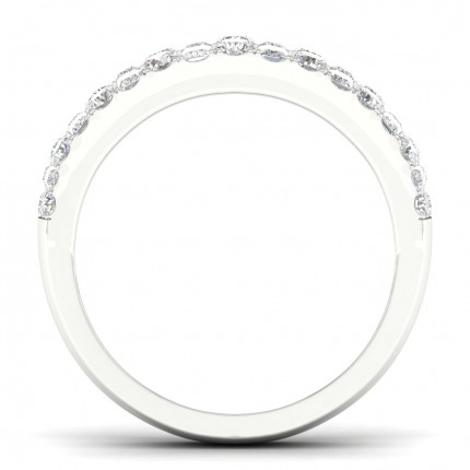 Micro Pave Setting Round Diamond Half Eternity Ring