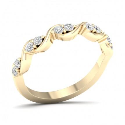 Bague d'éternité demi-diamant rond serti griffes