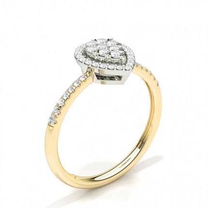 Unsichtbare Zinkeneinstellung Runder Diamantclusterring