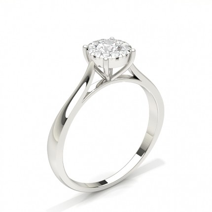 Micro Prong Setting Round Diamond Cluster Ring