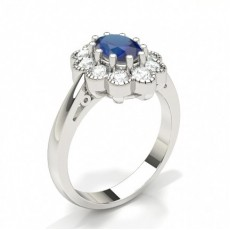 Oval Bague Saphir Bleu et Diamant