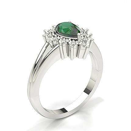 Pear Halo Emerald Engagement Ring