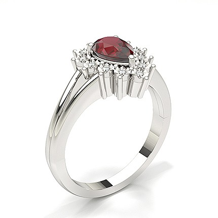 Pear Halo Ruby Engagement Ring