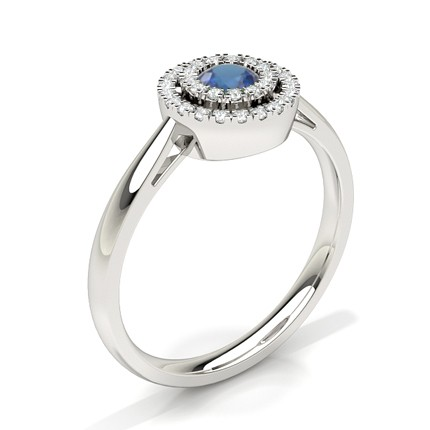 Round Halo Blue Sapphire Engagement Ring