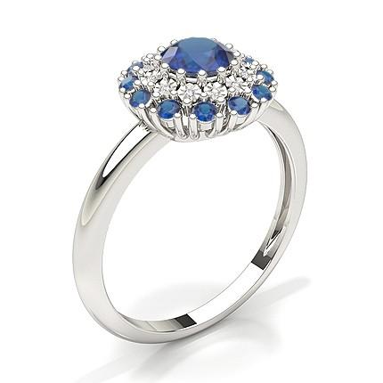 Rund Halo Blue Sapphire Verlobungsring