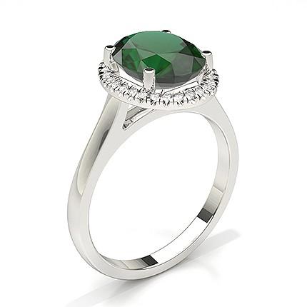 Ovaler Halo Smaragd Verlobungsring