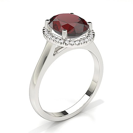 Oval Halo Ruby Engagement Ring