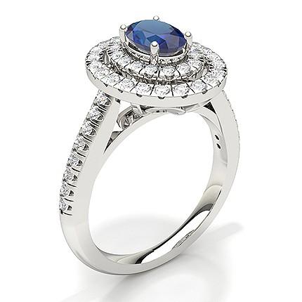 Bague De Fiancailles Ovale Saphir Bleu