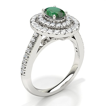 Oval Halo Emerald Engagement Ring
