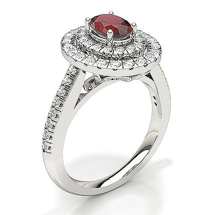 Bague De Fiancailles Ovale Halo Ruby
