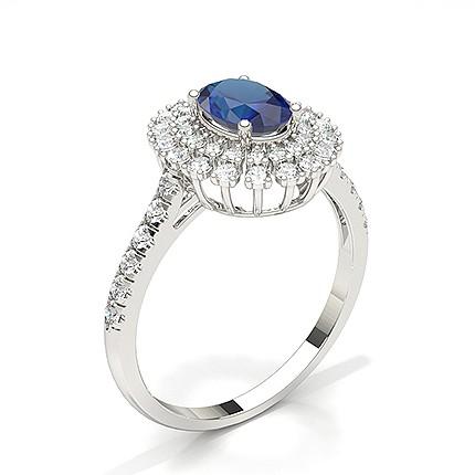 Ovaler Halo Blue Sapphire Verlobungsring