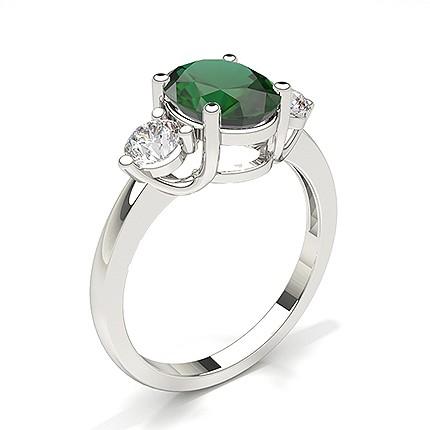 Zinkeneinstellung Smaragd Drei Stein Ring