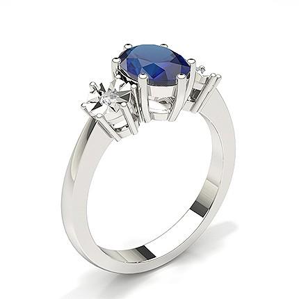 Zinkeneinstellung Blue Sapphire Three Stone Ring