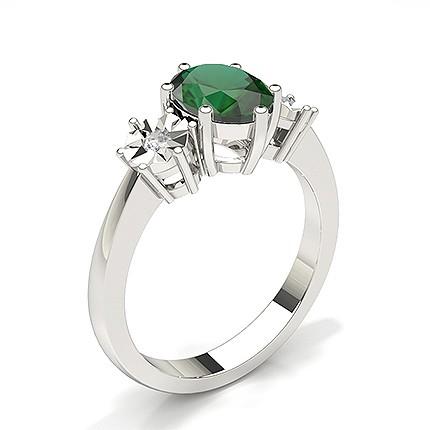 Prong Setting Emerald Three Stone Ring