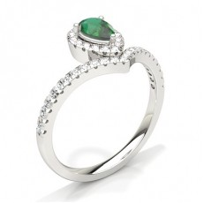 Pear Emerald Diamond Engagement Rings