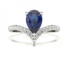 Pear Sapphire Diamond Engagement Rings