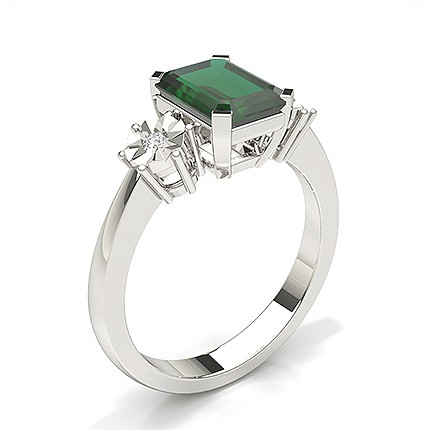 Prong Setting Emerald Three Stone Ring